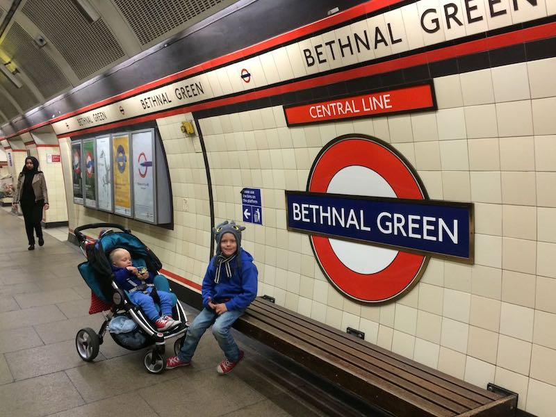 bethnal green train station in london with kids