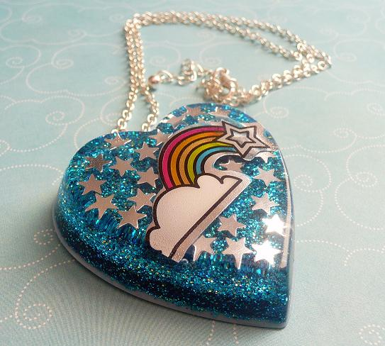 fun things to do at home for free - rainbow resin necklace by ritzee rebel