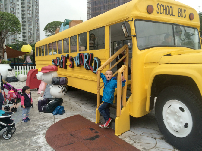 snoopy theme park bus with ned pic