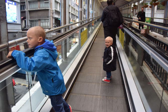 hong kong escalator street with ned and jack pic