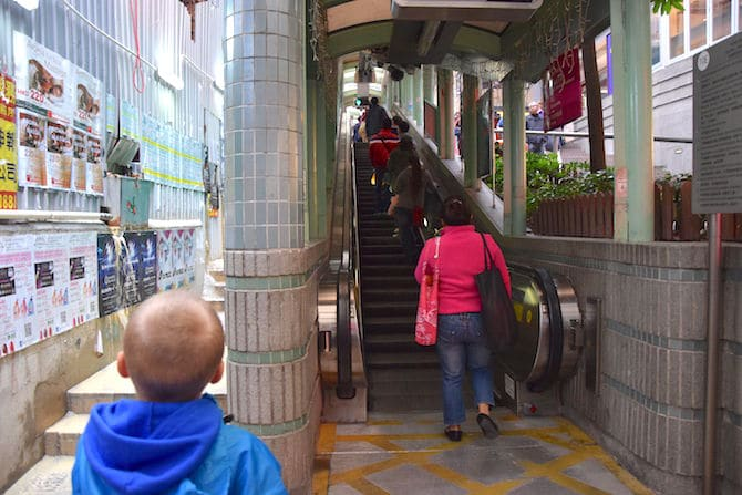 hong kong escalator street stairs going up pic
