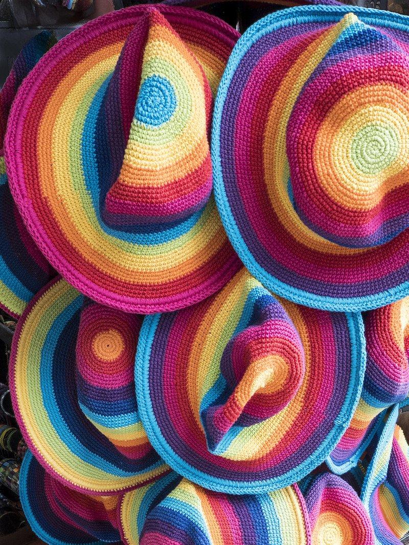 rainbow hats at eumundi markets vy mike locke