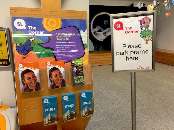 brisbane state library kids corner prams sign pic