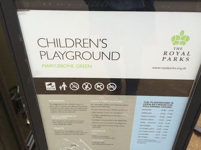 marylebone green playground sign