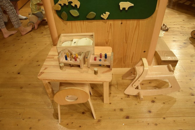 muji shibuya playroom rocking horse table