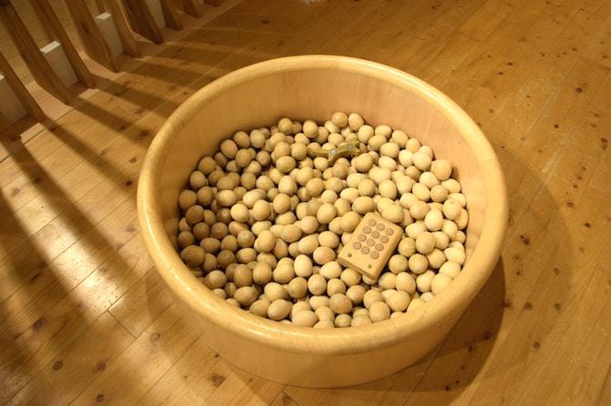 muji shibuya playroom wooden ball pit