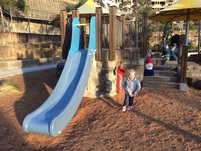 pirrama park playground with jack on slide pic