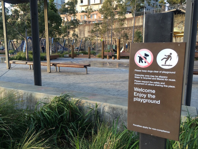 pirrama park playground no dogs sign pic
