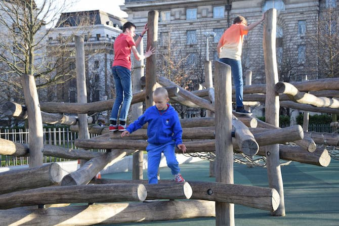 Jubilee gardens playground near London Eye logs