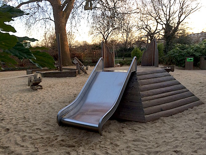 Visit ROAM THE GNOME Family Travel Website Directory for SUPER DOOPER FUN ideas for family vacations around the world. Search by city. Photo- Pirate Park Playground at Princess Diana Memorial playground Hyde Park slide