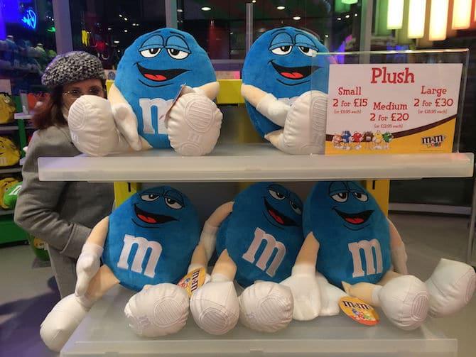 m&m world london blue plush