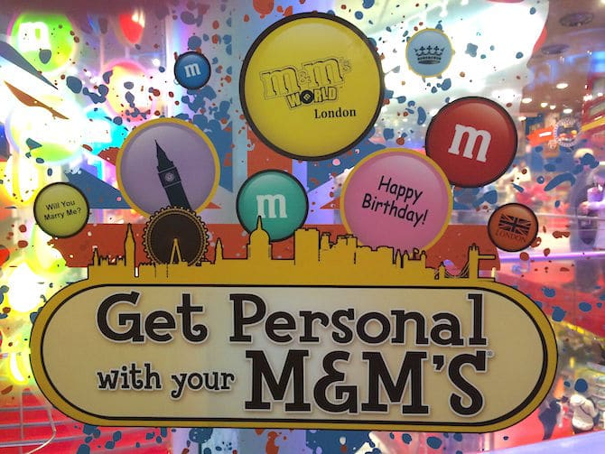 m&m world london get personal