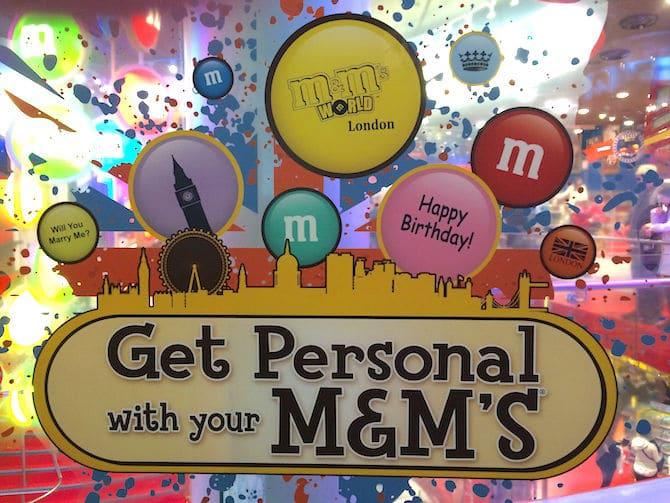 m&m world london get personal
