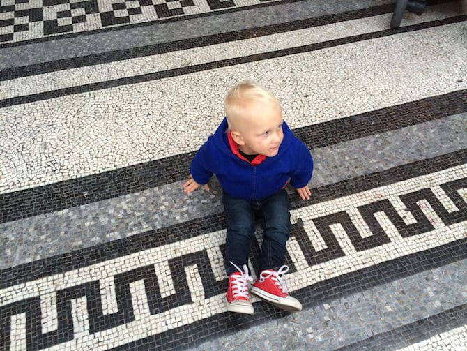 natural history museum london with kids jack on floor