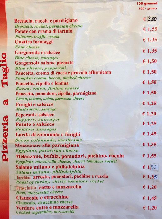 Best Pizza in Rome - Pizza Florida Menu pic