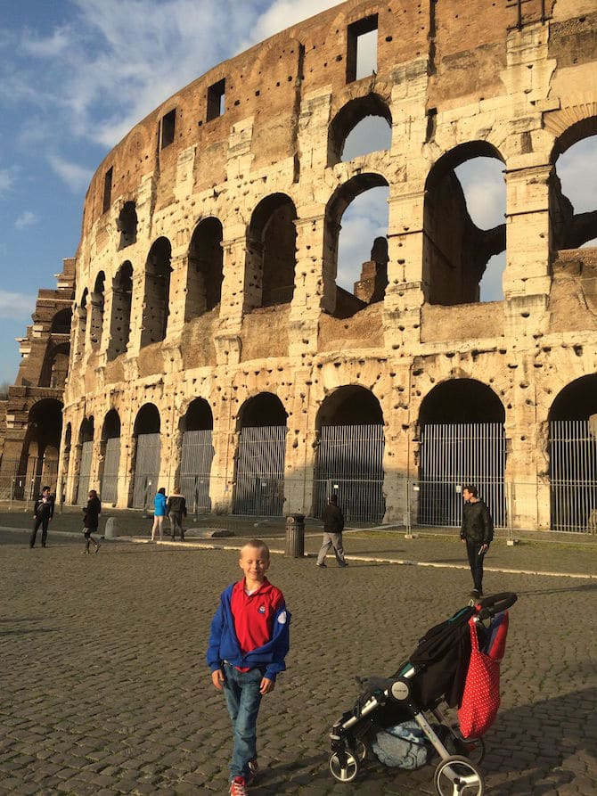 britax b clever travel stroller at the colosseum in rome