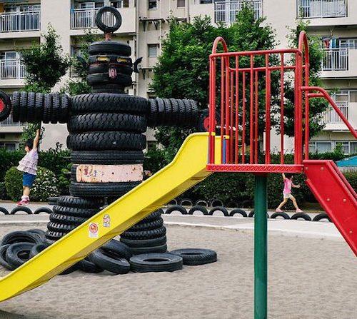 Tyre playground - Nishi Rokugo Park in Kamata 3