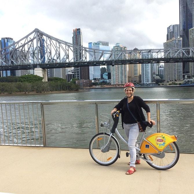 FREE City Cycle Bicycle Hire Brisbane with views of Storey Bridge