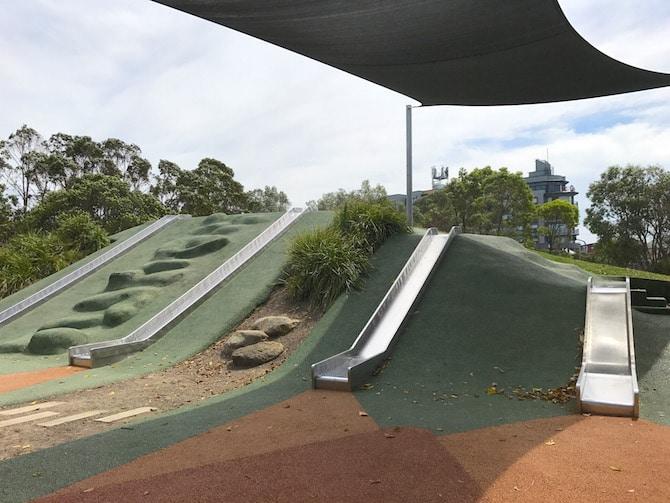 Sydney Park Playground slides pic