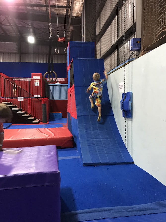 Roam the Gnome Family Travel Directory - Spring Loaded Trampoline Park Tweed Heads Banora Point parkour ramp