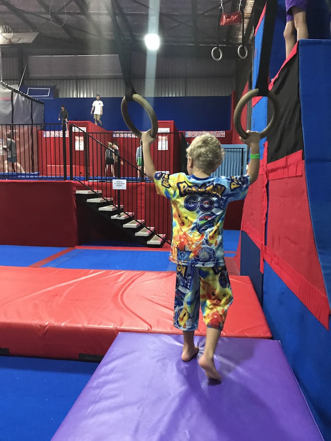 Spring Loaded Trampoline Park Tweed Heads Banora Point trapeze rings pic
