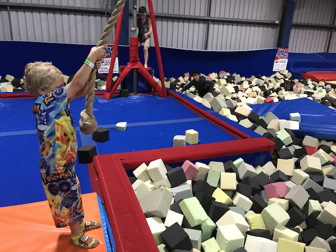 Spring Loaded Trampoline Park Tweed Heads Banora Point rope swing pic