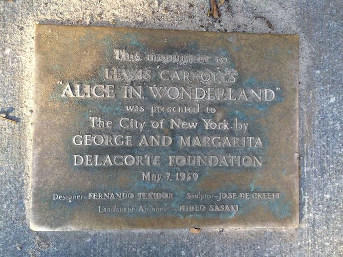 Photo- Alice in Wonderland Statue plaque