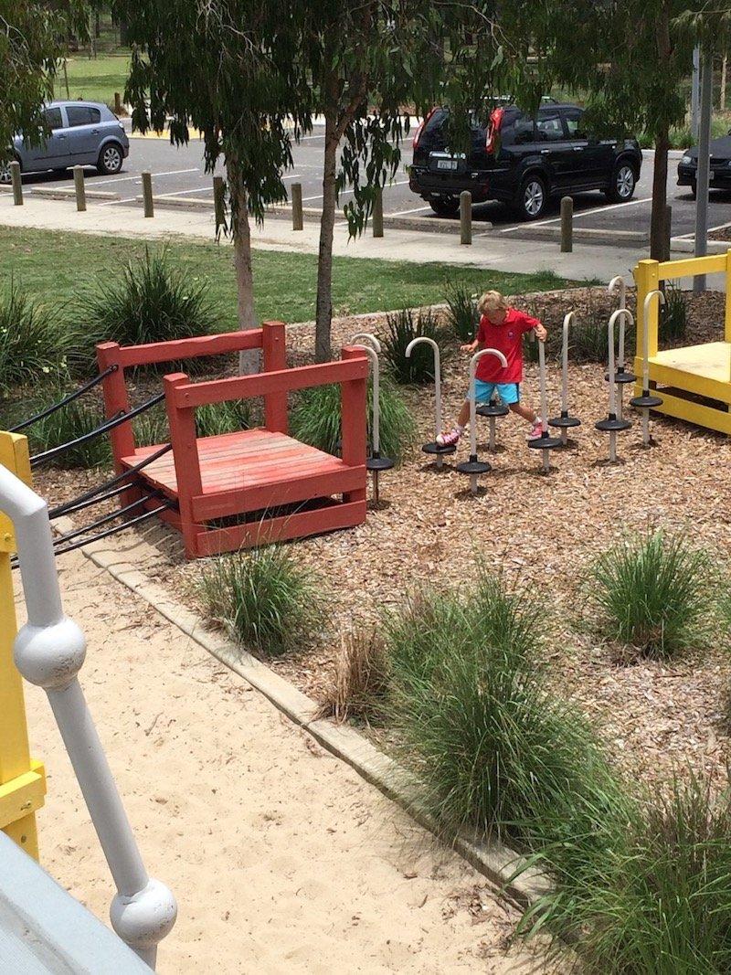 photo - hidden world playground brisbane balancing steps