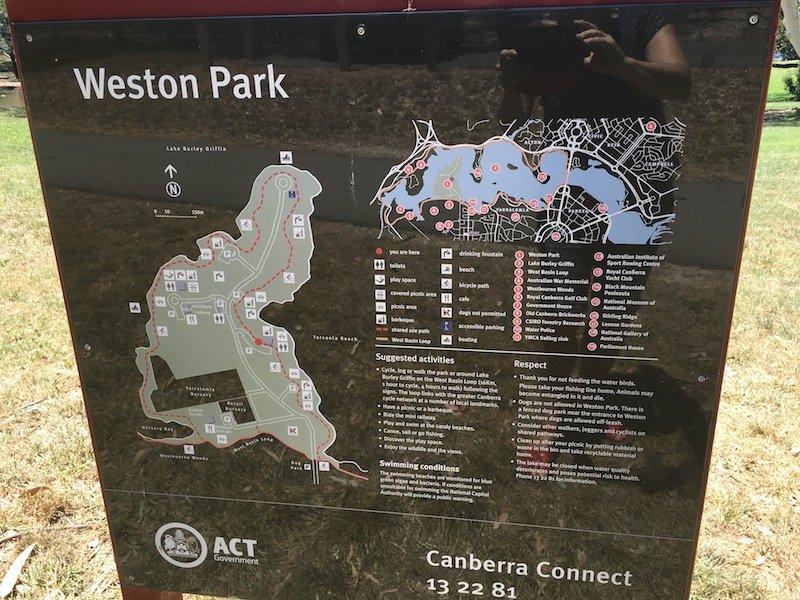 Weston Park Yarralumla Canberra signboard pic