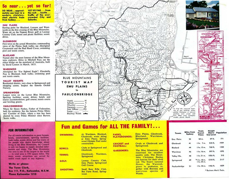 blue mountains tourist map by blue mountains library