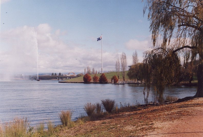 canberra lake burley griffin water spout by michael woodhead