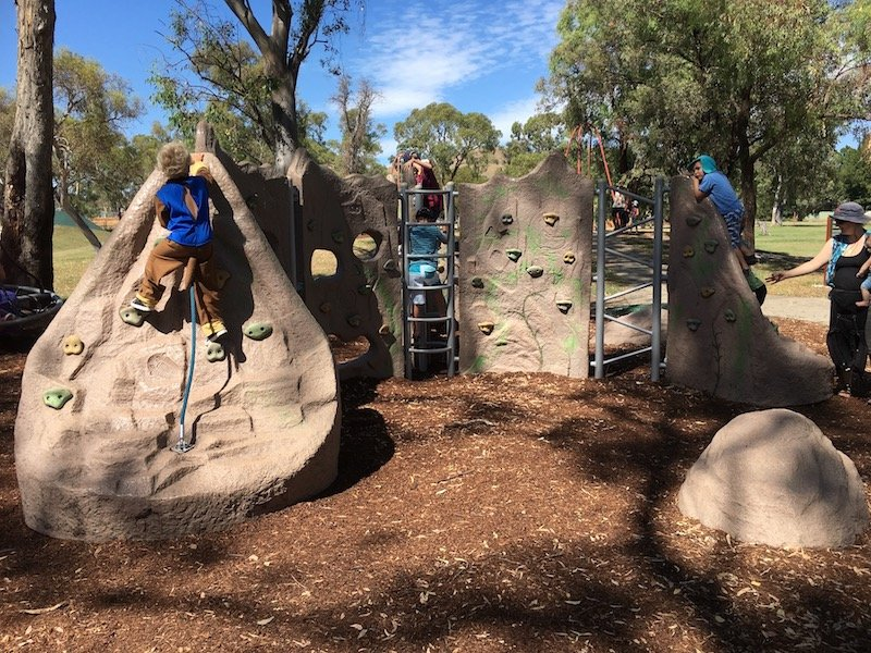 kambah adventure playground canberra boulder wall pic