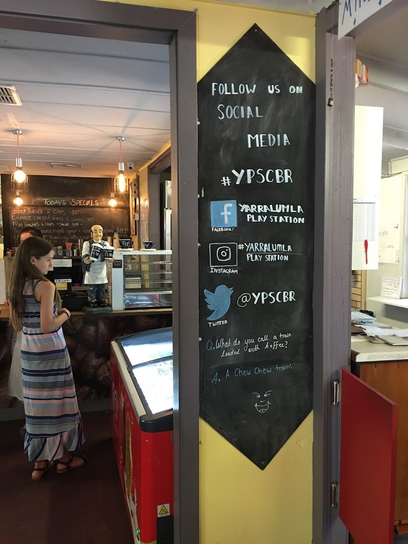 kid friendly cafe canberra - weston park cafe menu pic