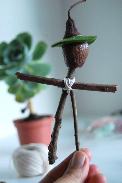 nature crafts for kids - mr stick man doll