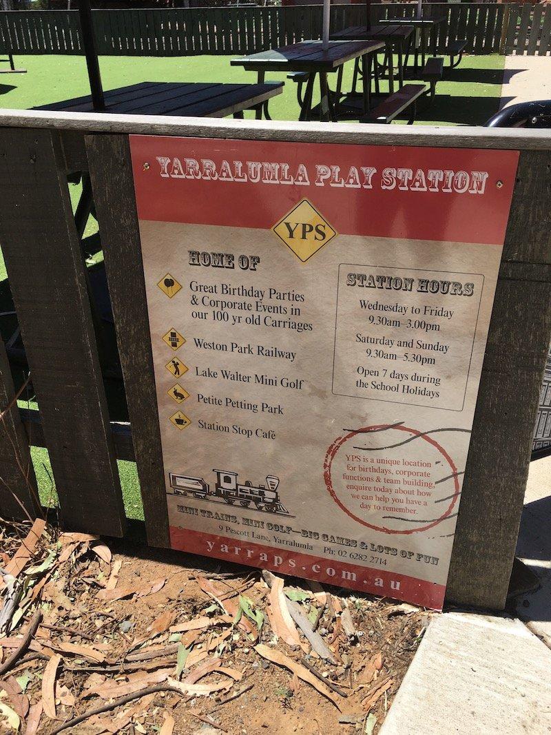 yarralumla play station weston park railway train sign pic