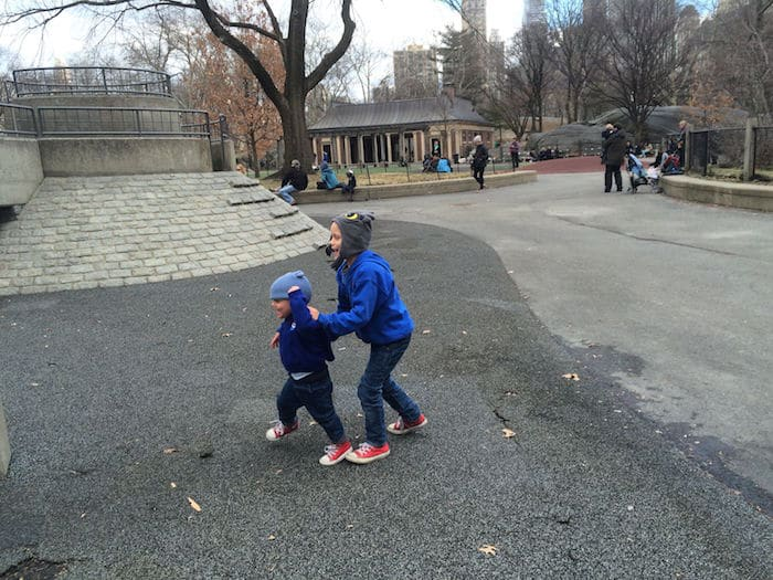 Visit ROAM THE GNOME Family Travel Website Directory for SUPER DOOPER FUN ideas for family vacations around the world. Search by city. Photo- Heckscher Playground Central Park rock climbing