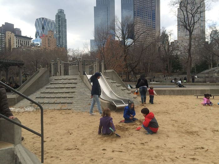 Visit ROAM THE GNOME Family Travel Website Directory for SUPER DOOPER FUN ideas for family vacations around the world. Search by city. Photo- Heckscher Playground Central Park sandpit