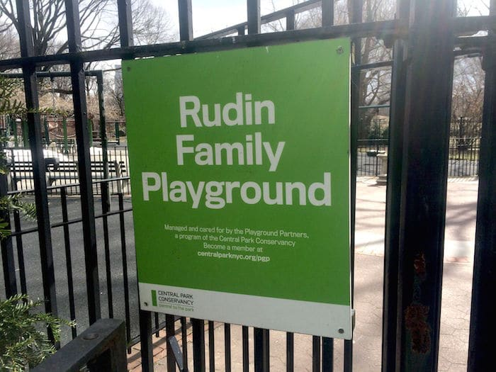 Visit ROAM THE GNOME Family Travel Website Directory for SUPER DOOPER FUN ideas for family vacations around the world. Search by city. Photo - The Rudin Family Playground Central Park sign