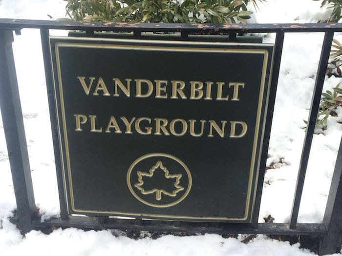 Visit ROAM THE GNOME Family Travel Directory for MORE SUPER DOOPER FUN ideas for family-friendly travel around the world. Search by City. Photo - Vanderbilt Playground Prospect Park Brooklyn sign