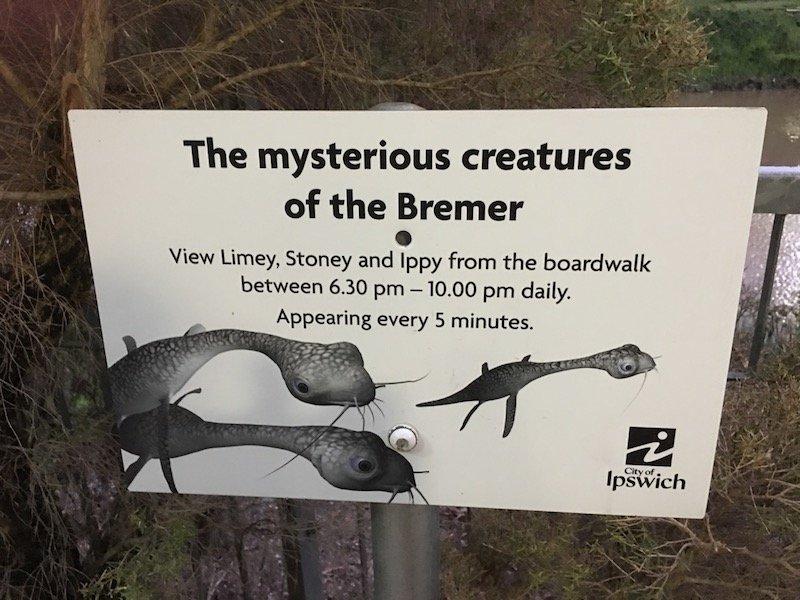 photo - riverheart parklands mysterious creatures sign