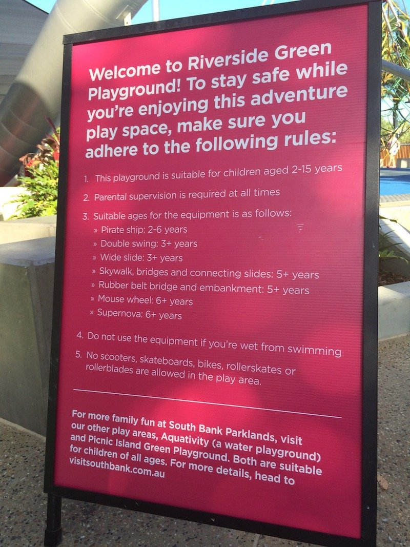 riverside green playground southbank welcome sign pic