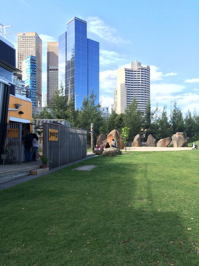 Birrarung Marr slides at the Melbourne playground pic