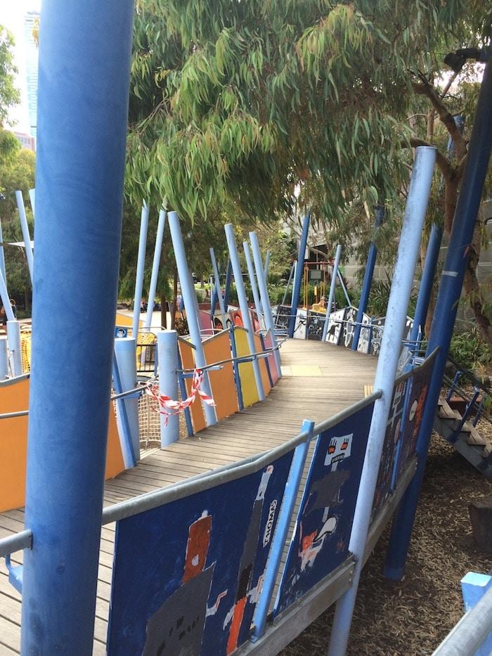 Playground Birrarung Marr wooden ramp walkway pic