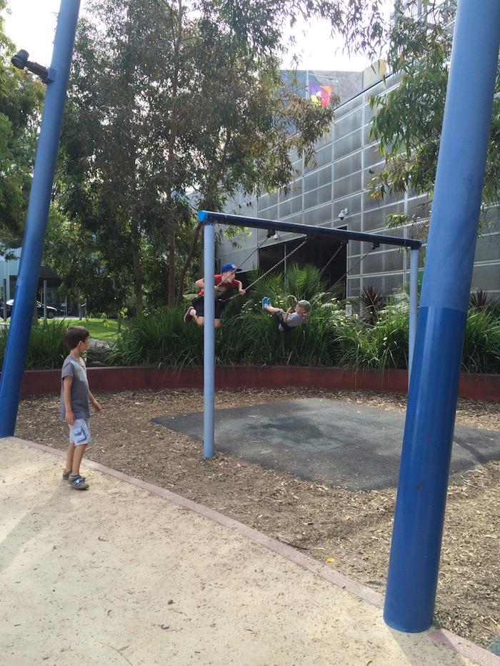 Birrarung Marr play area swings pic