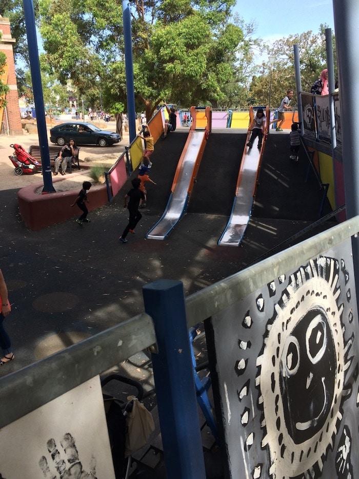 Birrarung Marr playground slides pic