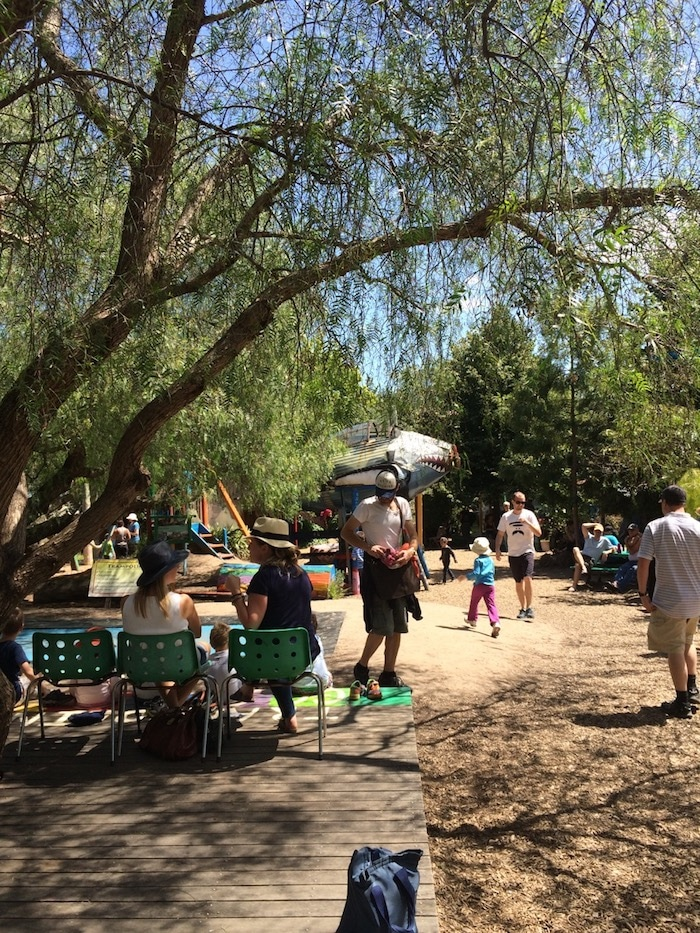 things to do at st kilda adventure playground in melbourne - sitting area pic