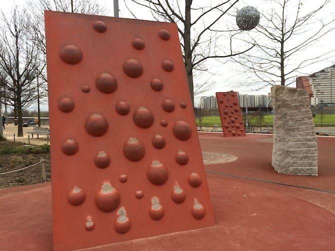 Pleasure gardens Adventure Playground Olympic Park climing walls. ROAM THE GNOME Family Travel Website.