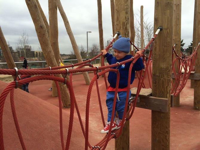 Bridge to Adventure Playground Olympic Park . ROAM THE GNOME Family Travel Website.