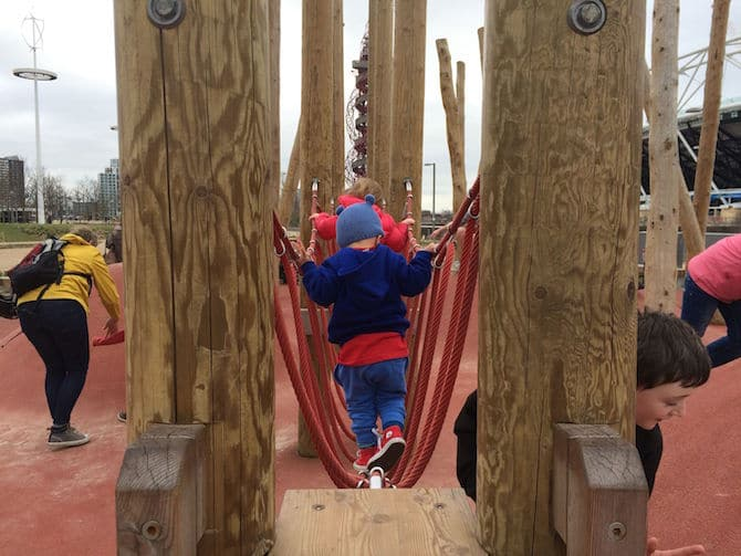 Play equipment at Adventure Playground Olympic Park . ROAM THE GNOME Family Travel Website.