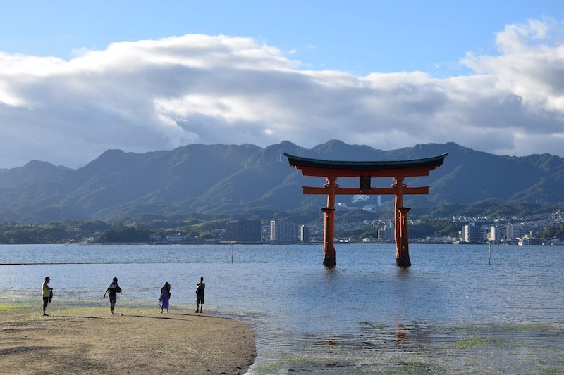 Miyajima Day Trip - red torii with tide out pic